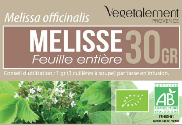 Tisane de Mélisse bio Végétalement Provence